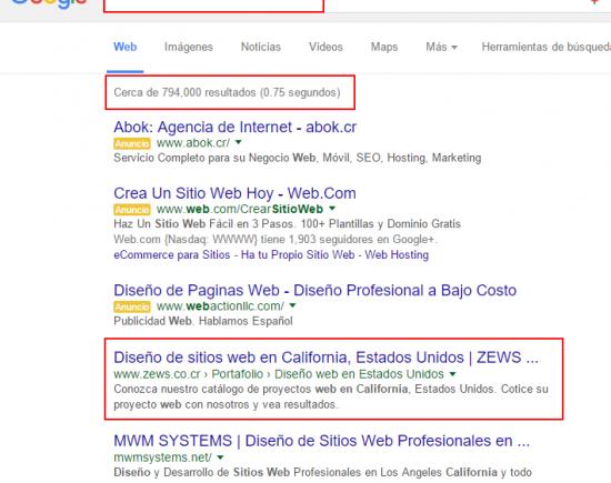 """Número 1 de 794.000 en """"diseño de sitios web en california"""""""